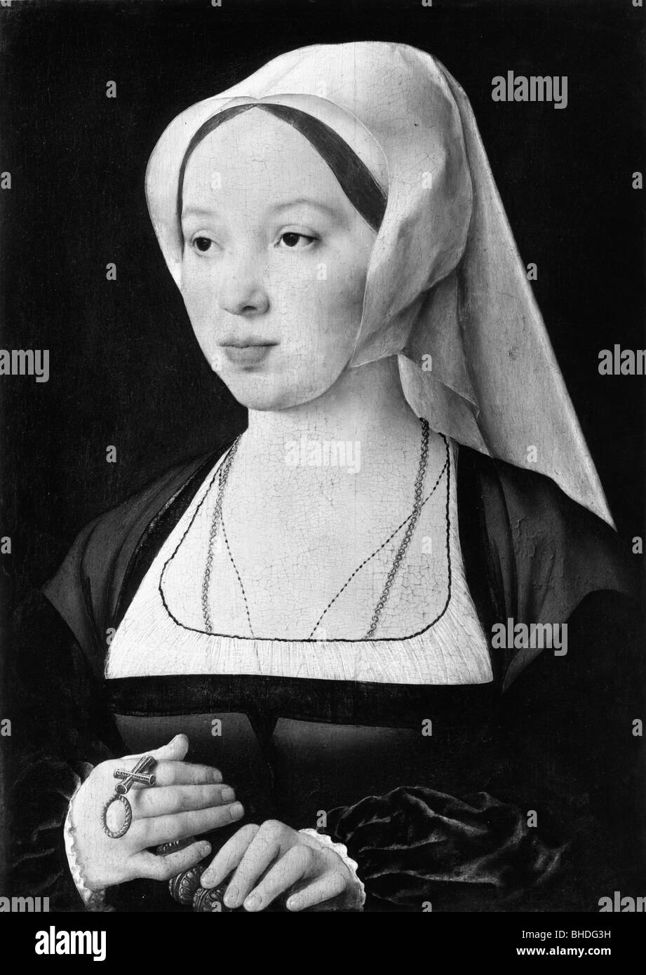people, women, 16th - 18th century, portrait of a woman, painting by Joos van Cleve (1485 - 1540), 16th century, - Stock Image