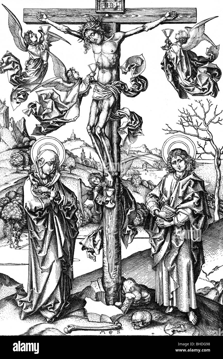 religion, Christianity, Jesus Christ on the cross, copper engraving by Martin Schongauer, 15th century, historic, - Stock Image