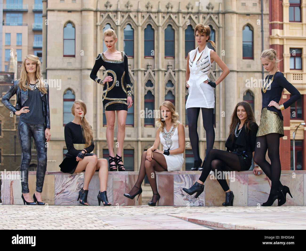 models pose for photographers at federation square melbourne australia - Stock Image