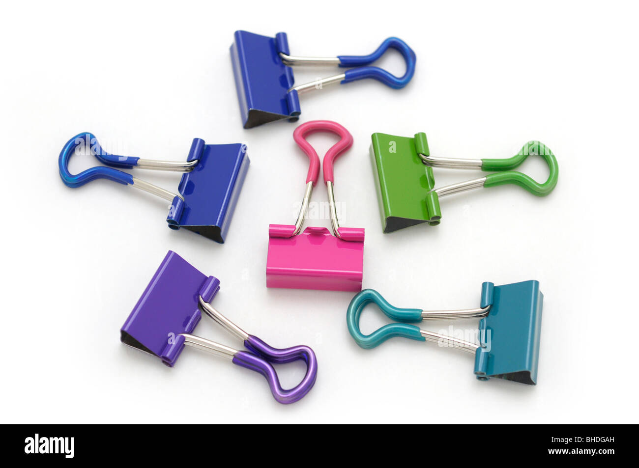 Binder Clips with Rubberized Grips - Stock Image