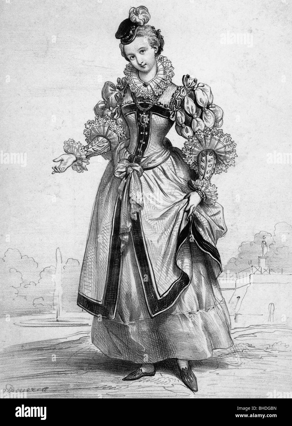 fashion, 16th century, German costume image, after contemporary lithograph by Deveria and Lemercier, historic, historical, - Stock Image