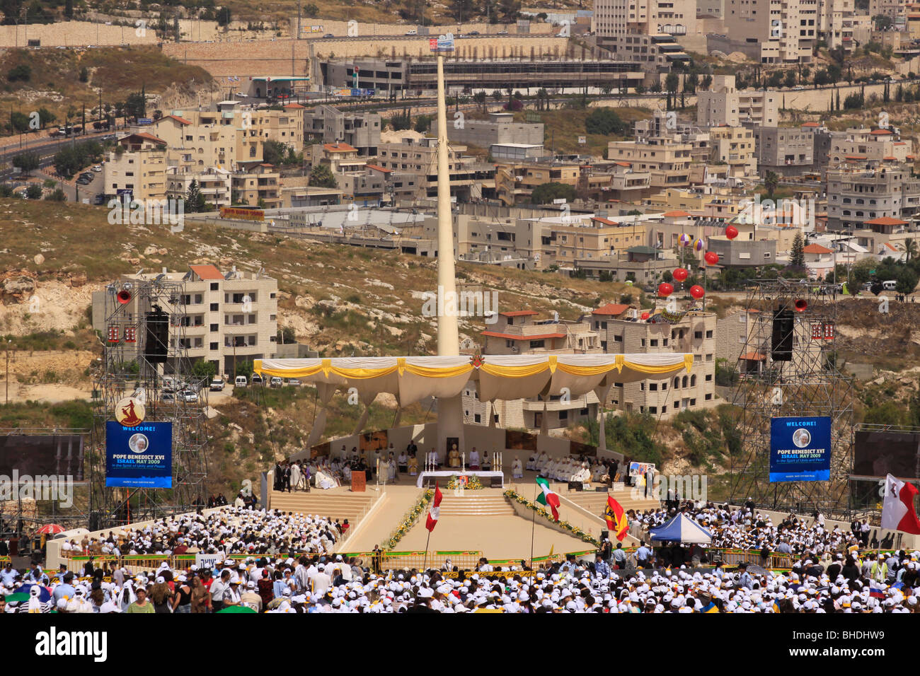 Israel, Galilee, the Pontifical Mass celebrated by His Holiness Pope Benedict XVI on the Mount of the Precipice Stock Photo
