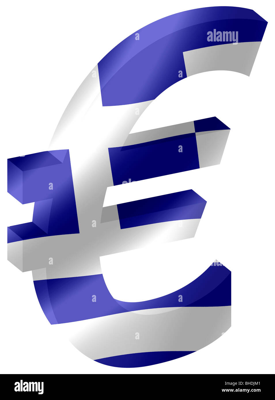 Euro Currency Symbol In 3d With Greek National Flag Inset Into Stock
