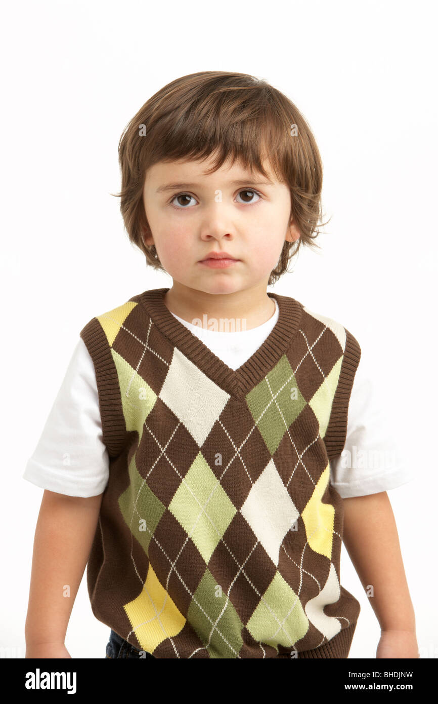 Half Length Portrait Of Young Boy Stock Photo