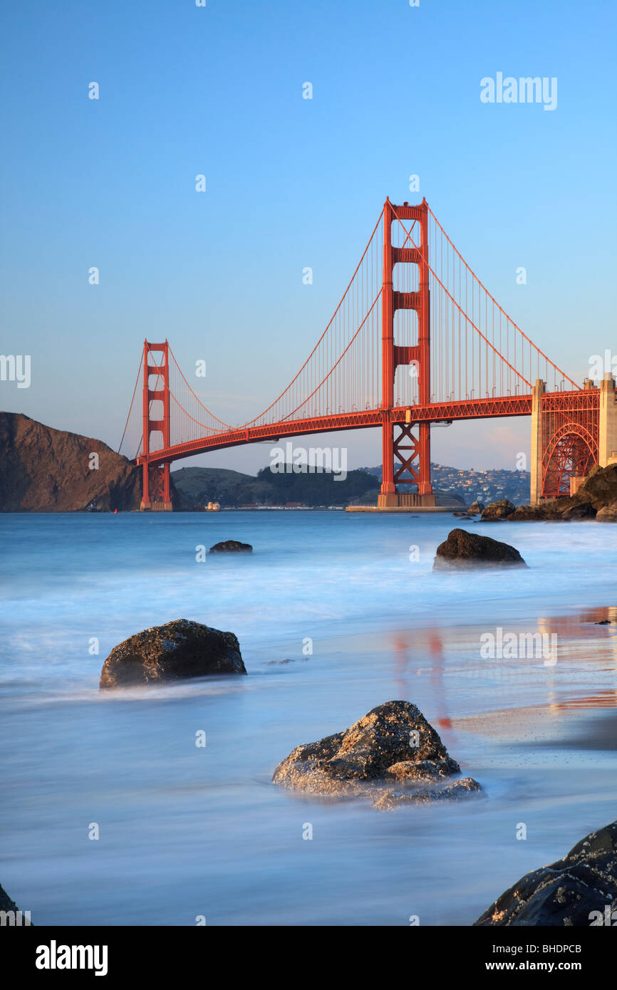 Golden Gate Bridge viewed from Bakers Beach - Stock Image