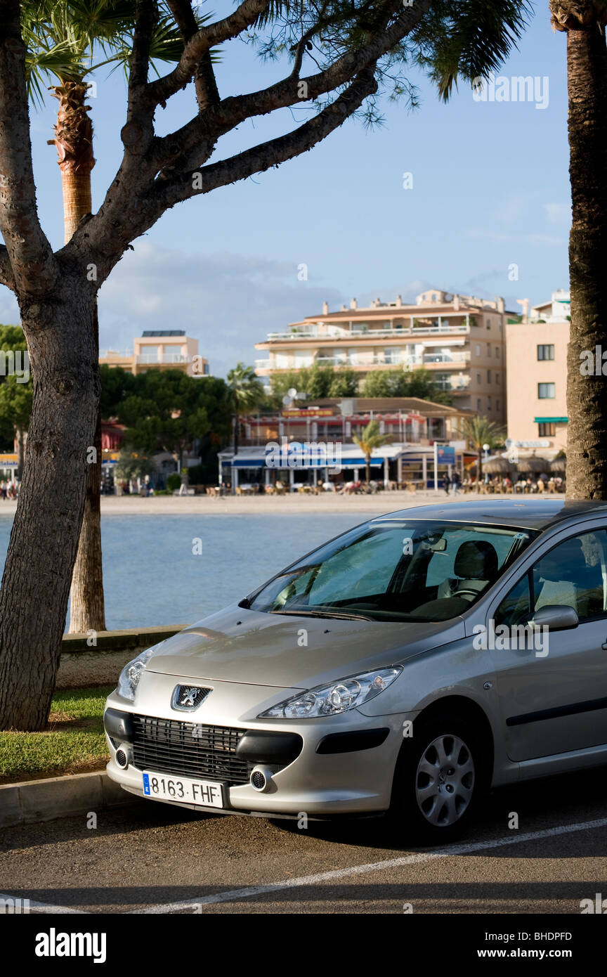 Peugeot 307 with Spanish registration plate parked at the side of the road in Spain. - Stock Image