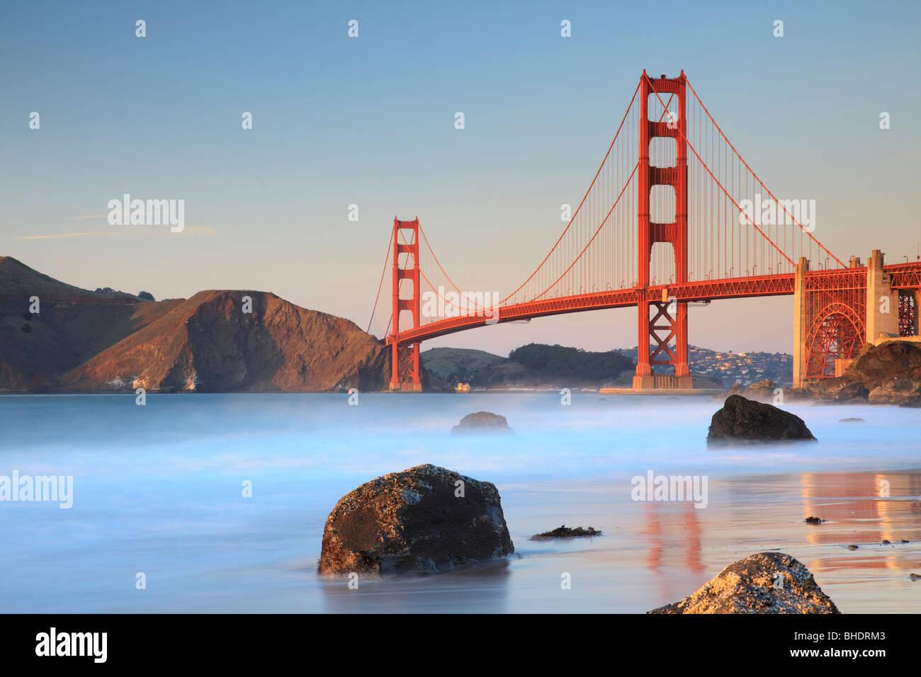 Golden Gate Bridge viewed from Bakers Beach - Stock Image