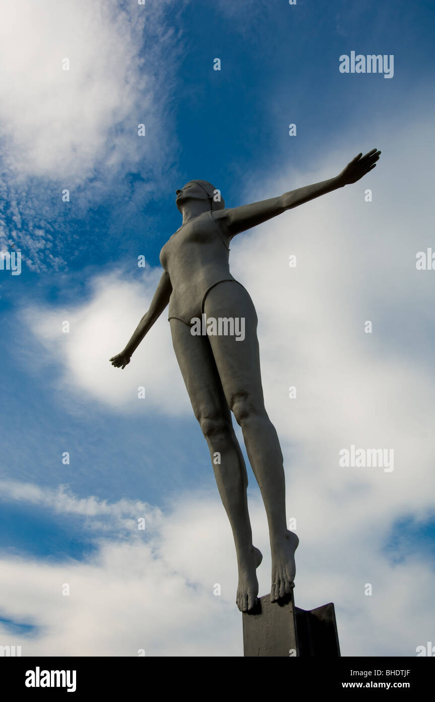 The Diving Belle, sculpture by Craig Knowles on Vincent's Pier, shot from low angle. South Bay of Scarborough, - Stock Image