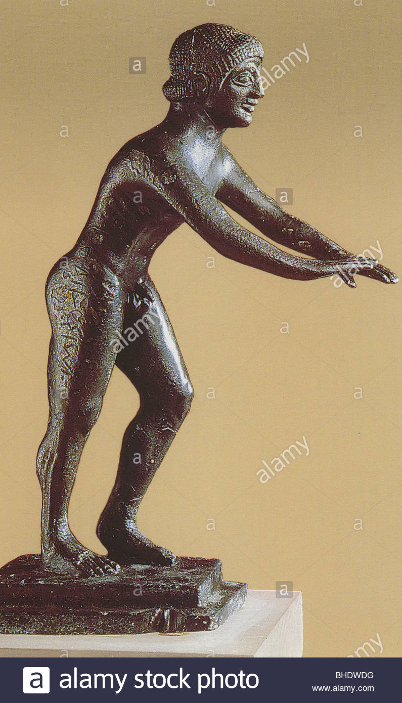 statuette of runner, olimpia museum, greece, europe - Stock Image