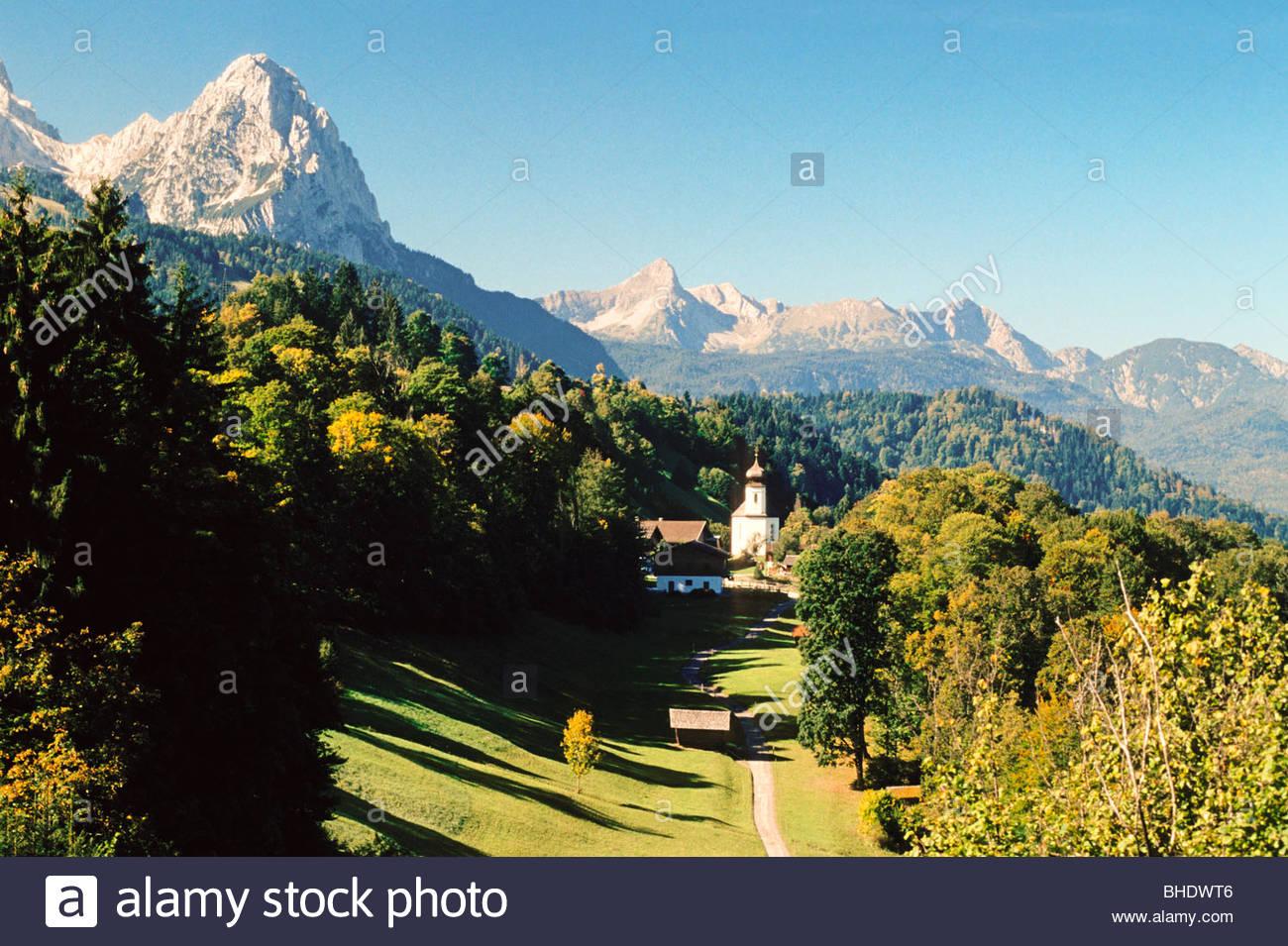 The hamlet of Walberg in the bavarian Alps. Bavaria, germany - Stock Image