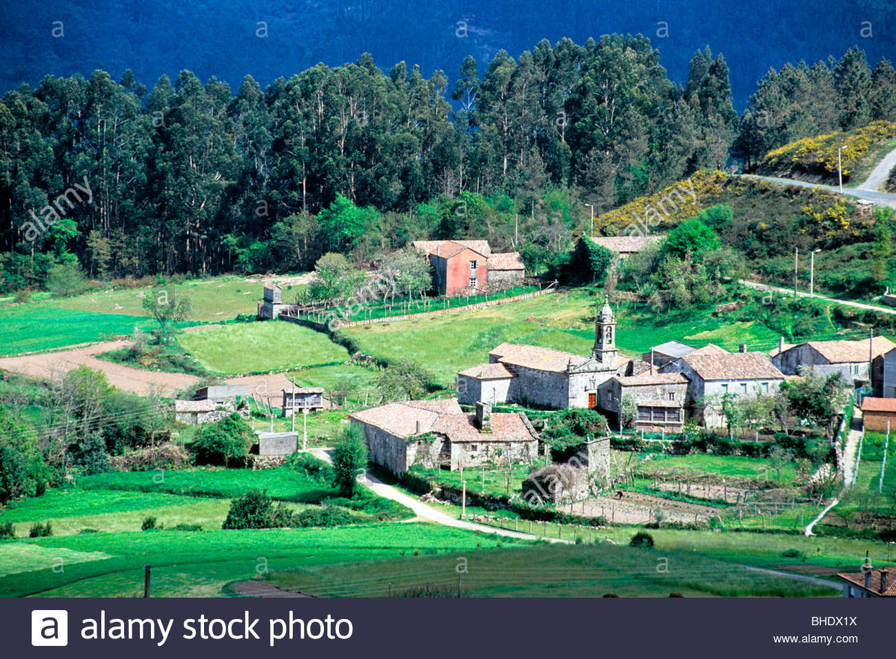 Hamlet of Chimpara in the mountains. Galicia, spain - Stock Image