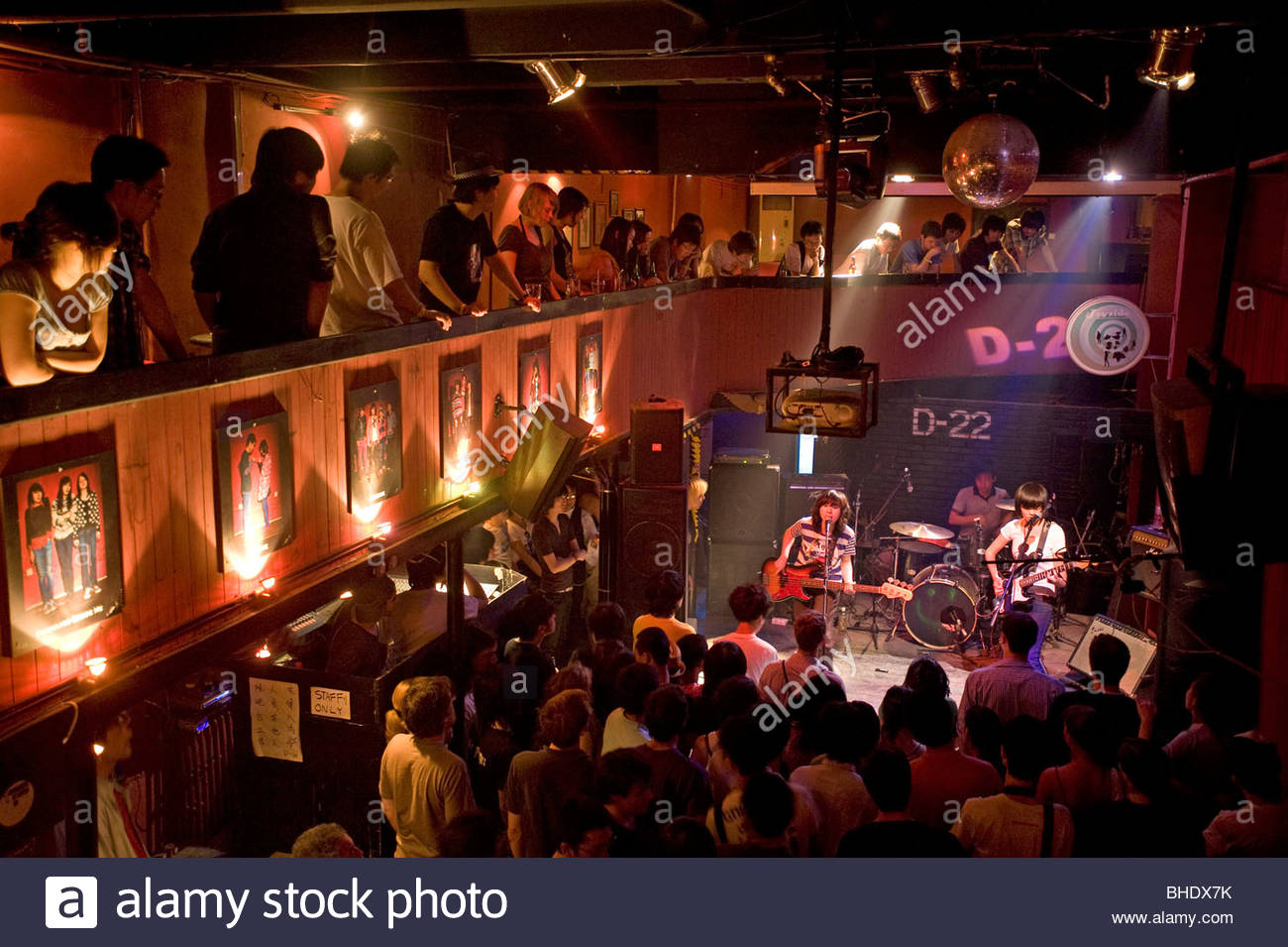 Underground rock scene at the  D22 club with a girls' band called '24 Hours'. Beijing, china - Stock Image