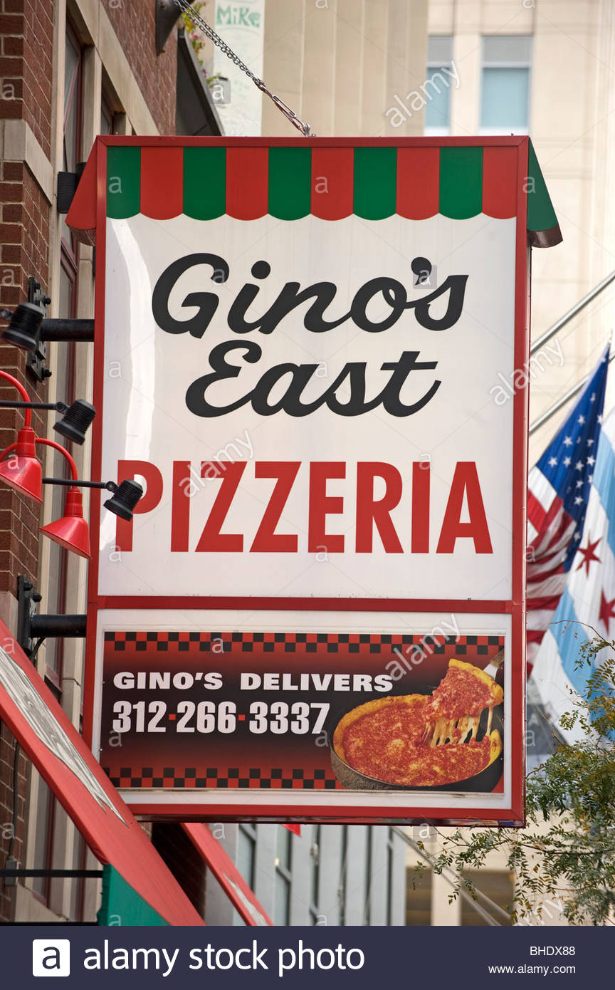 Gino is an institution in the pizza business. Chicago, Illinois, Usa - Stock Image