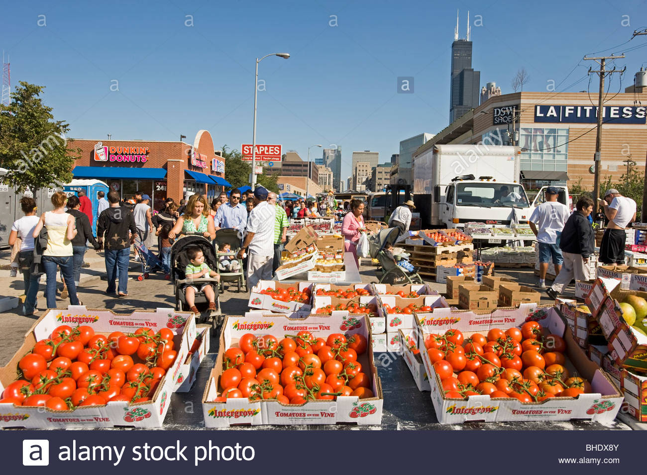 Street market in the South Loop area. Chicago, Illinois, usa - Stock Image