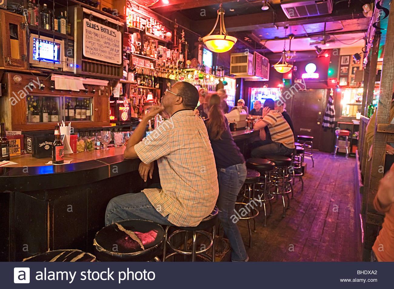The famous 'B.L.U.E.S' blues club in the Lincoln area. Chicago, Illinois, usa - Stock Image