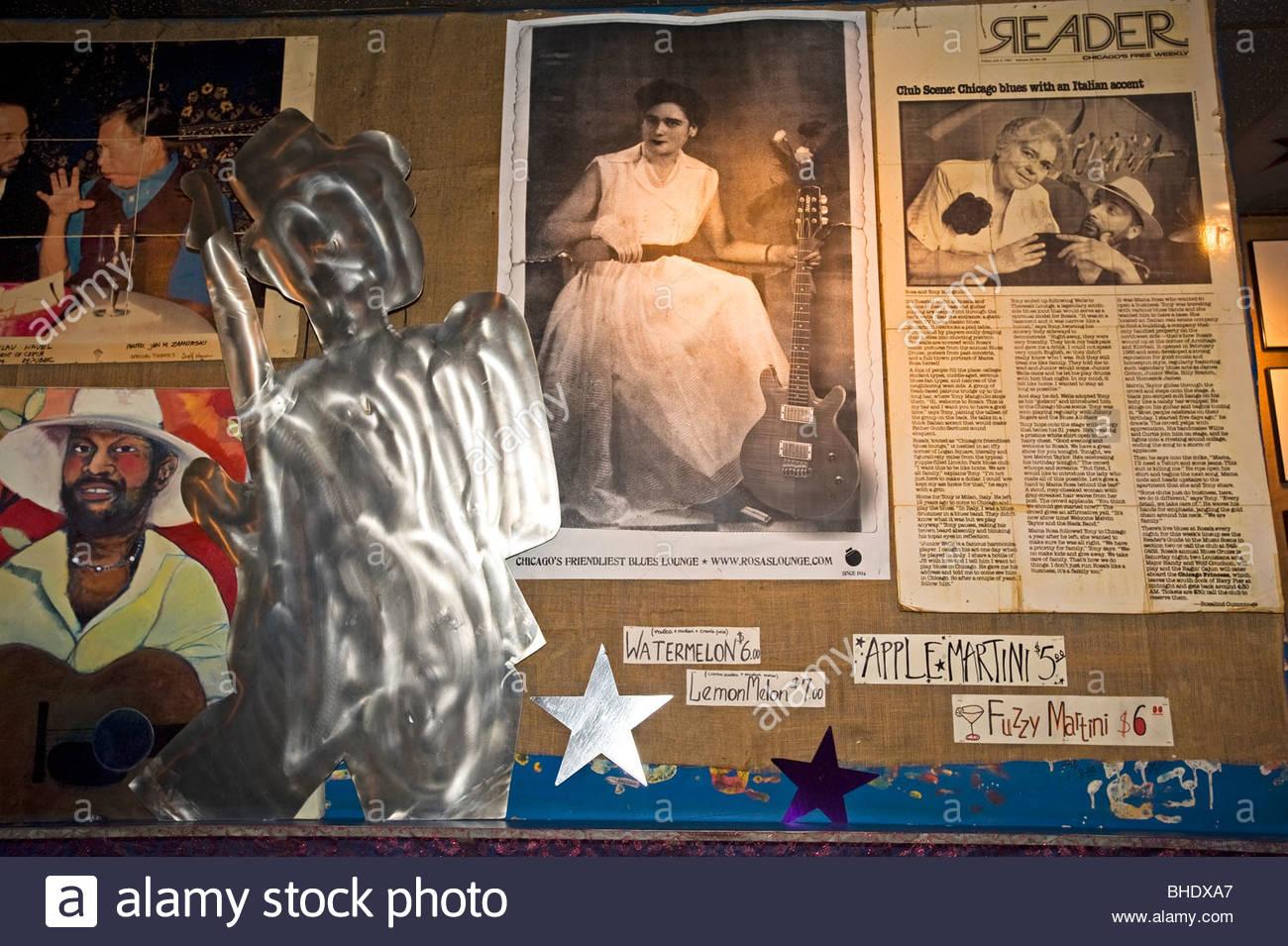 Rosas Lounge Blues club, Chicago, Illinois, Usa - Stock Image