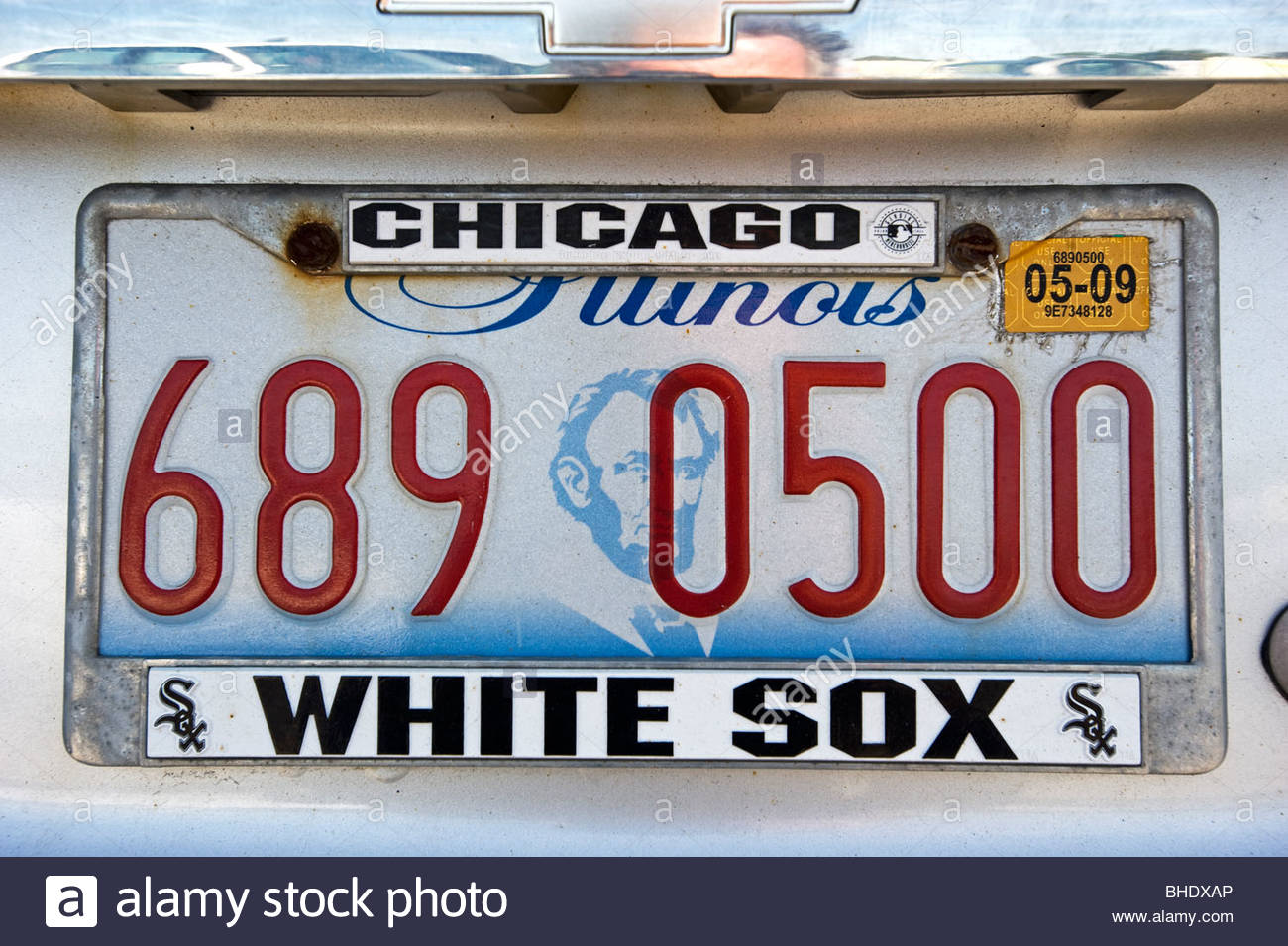 Car plate with the name of the white sox, the Chicago baseball team. Chicago, Illinois, Usa - Stock Image