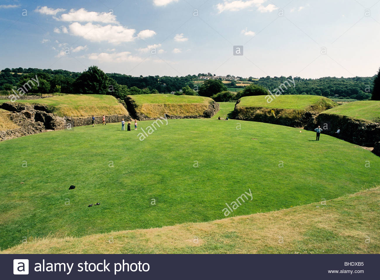 Antique roman amphitheater in Caerleon. Wales, great britain - Stock Image