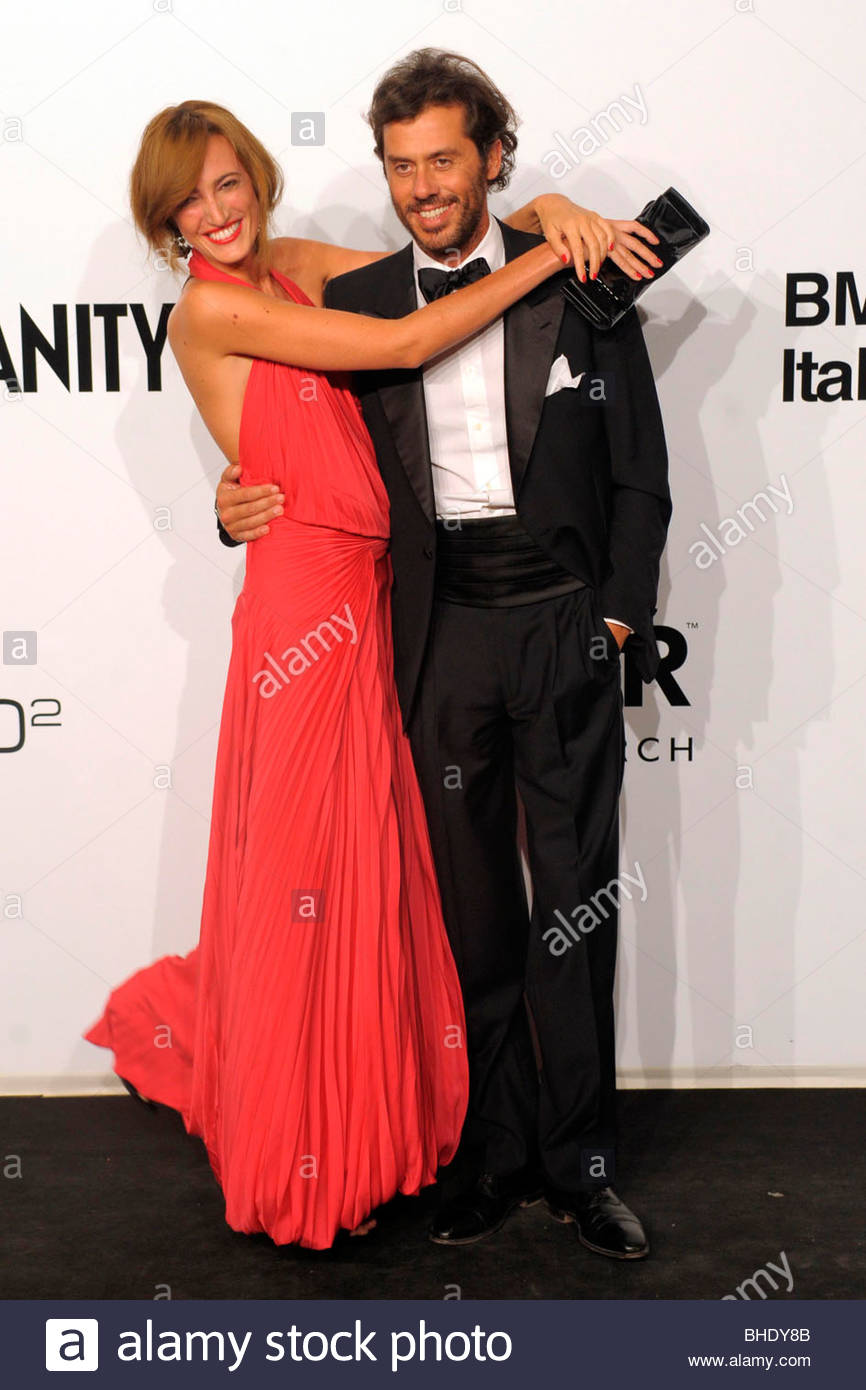 massimiliano maggi, maria sole brivio sforza, milan 2009, amfar gala evening - Stock Image