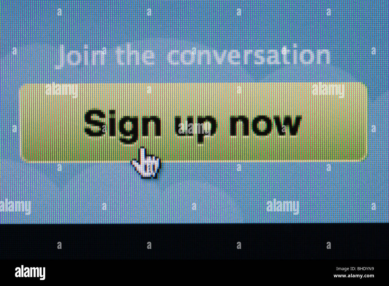 Close-up screenshot of Twitter website sign up now to join Stock Photo