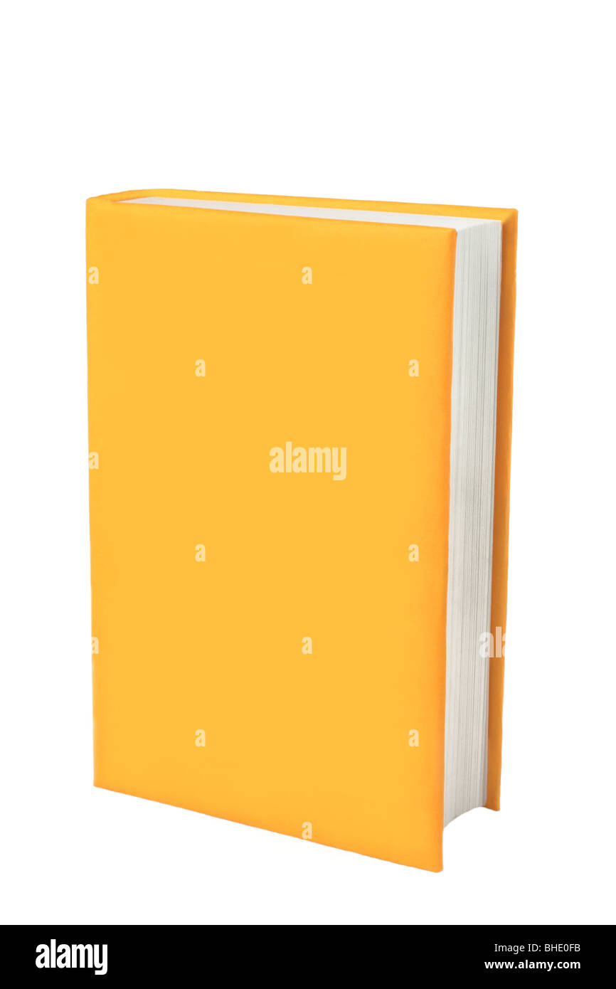 Book with blank yellow cover on which you can place your own words. Cut out against a white background with space - Stock Image