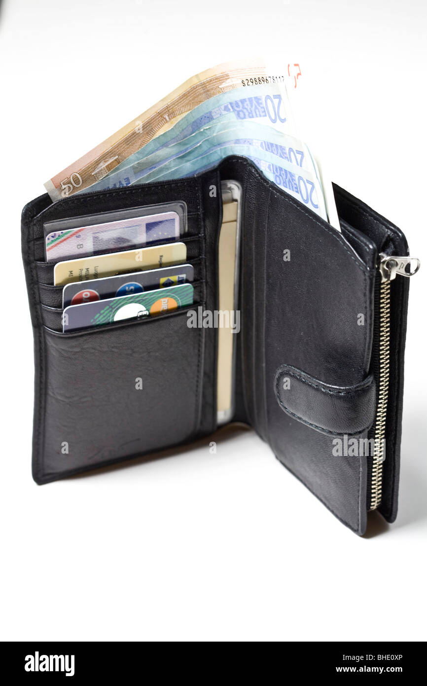 wallet with euro currency and credit cards - Stock Image