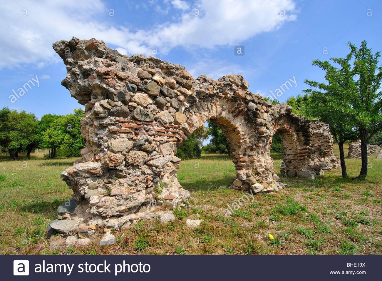 roman aqueduct, olbia, sardinia, italy - Stock Image