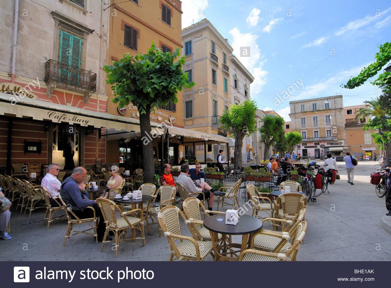 piazza regina margherita, olbia, sardinia, italy - Stock Image