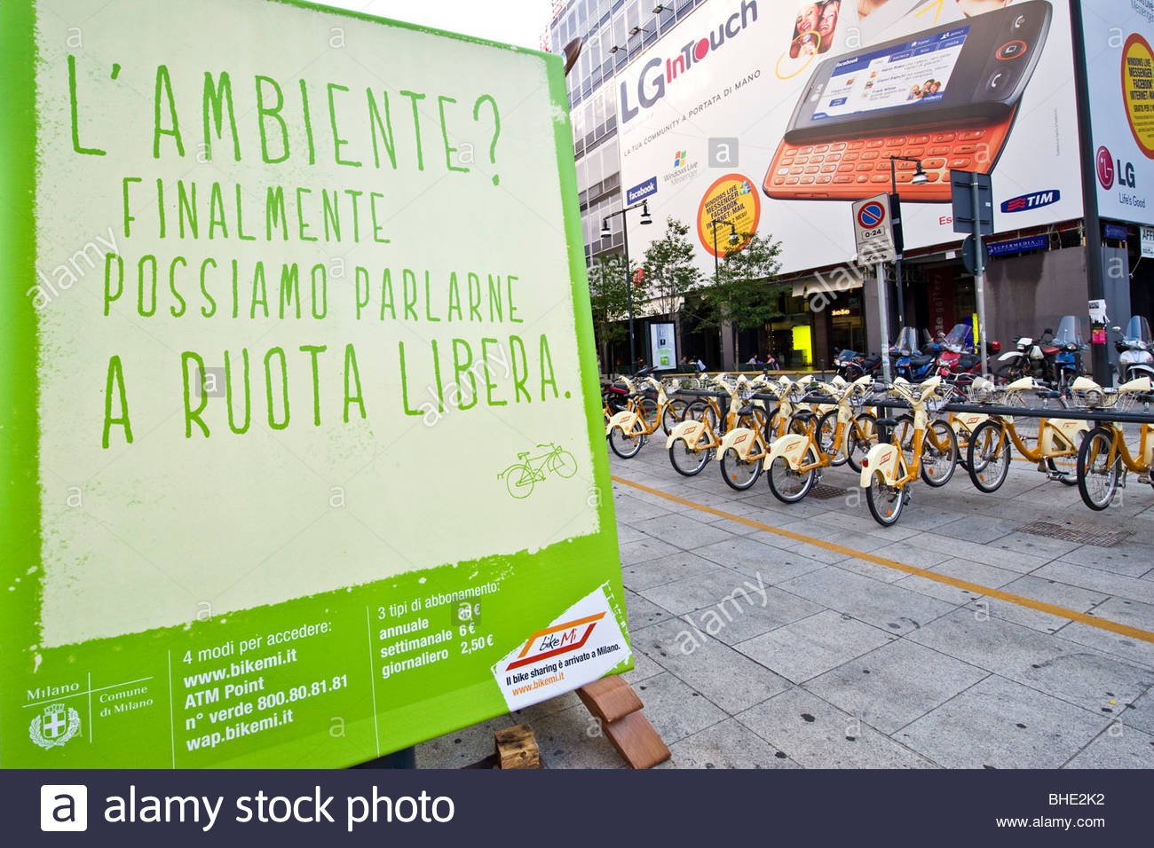 bikesharing'milan, lombardy, italy - Stock Image