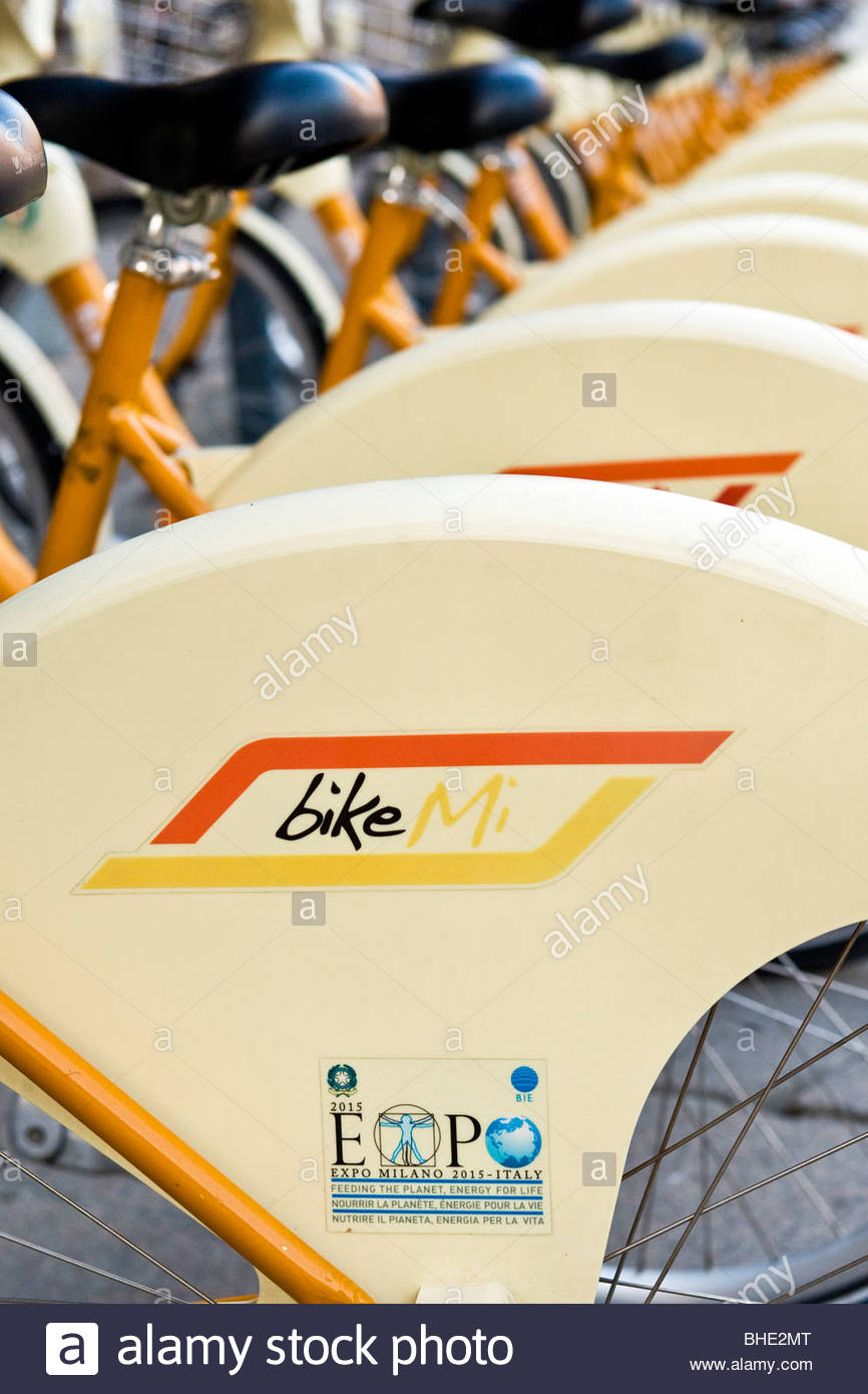 bikesharing, milan, lombardy, italy - Stock Image