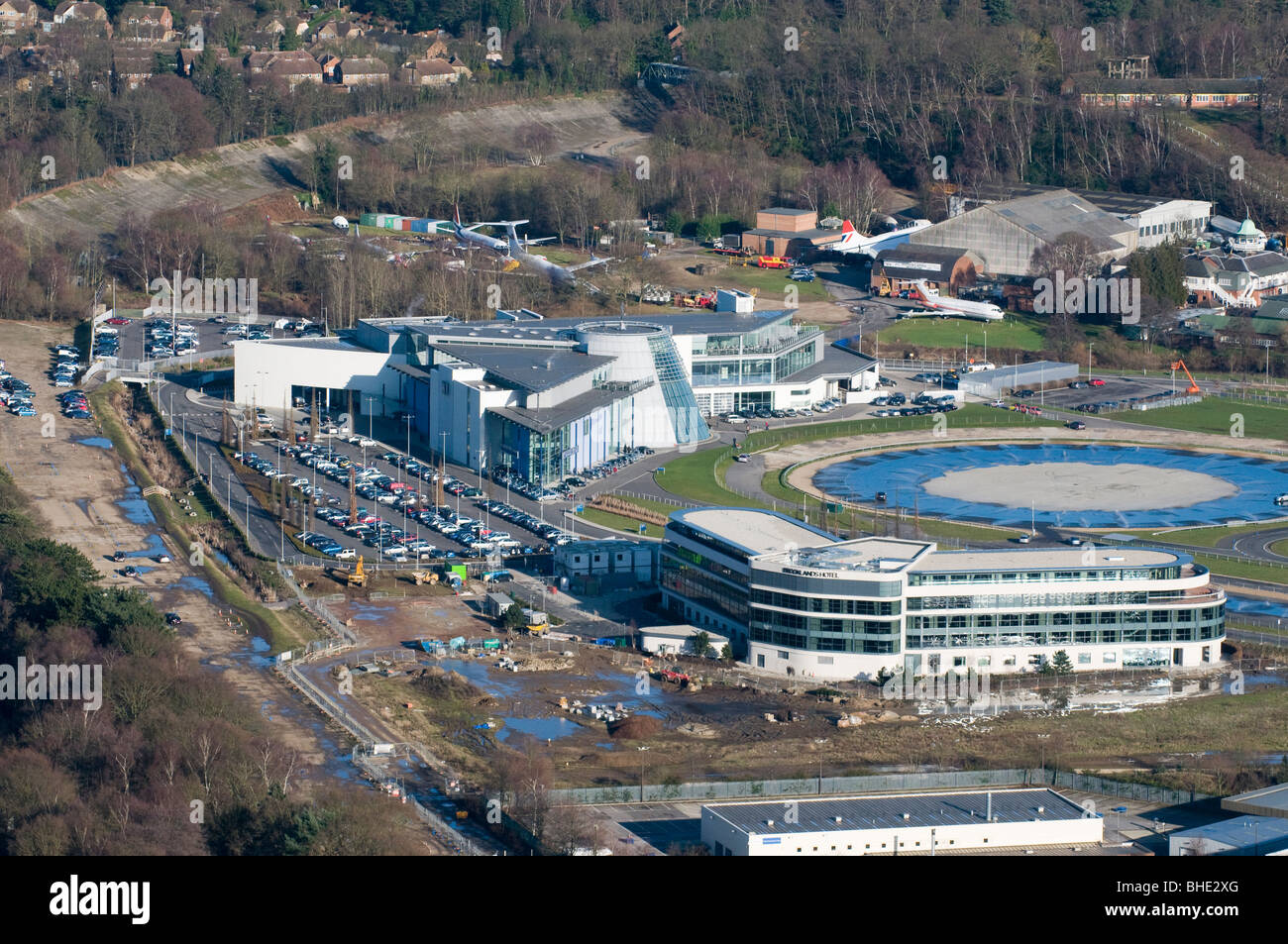 Aerial view of mercedes benz world at brooklands for Hotels by mercedes benz superdome