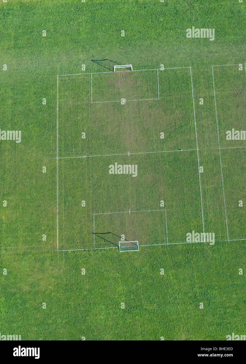 Football pitch from the air. - Stock Image