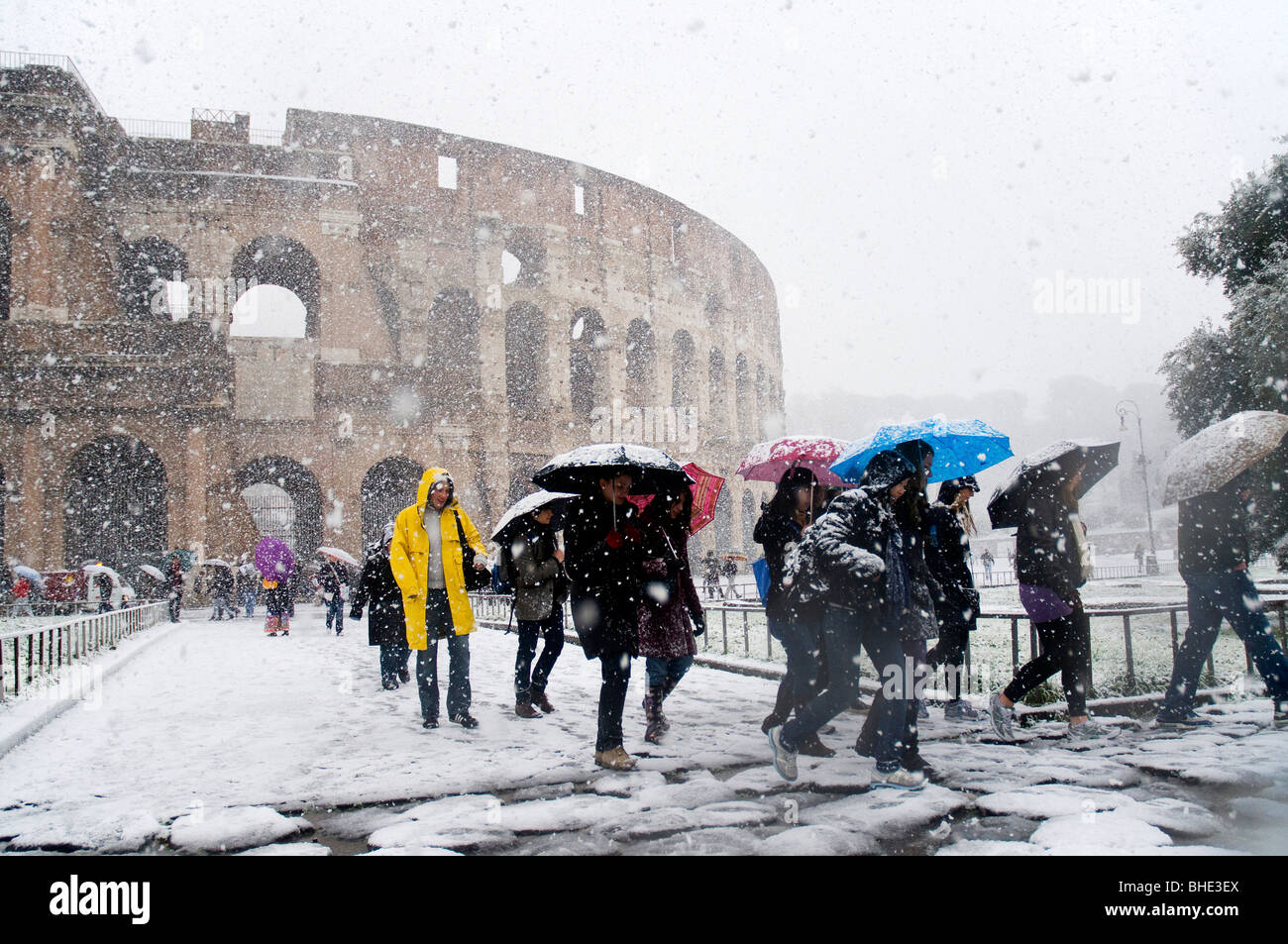 The Colosseum under heavy snow, Rome Italy - Stock Image