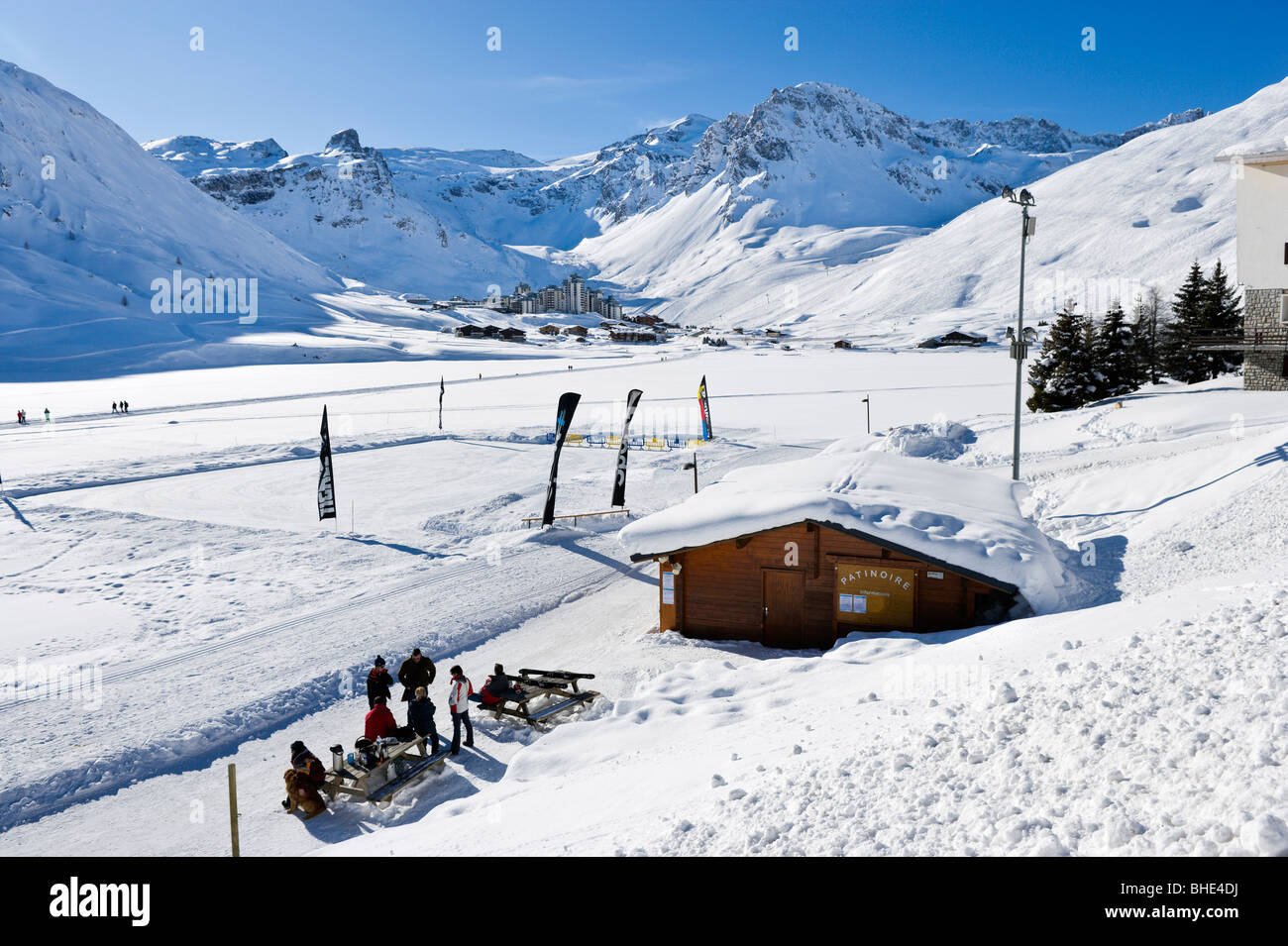 View from the ice skating rink in Tignes Le Lac towards Val Claret, Tignes, Espace Killy, Tarentaise, Savoie, France Stock Photo