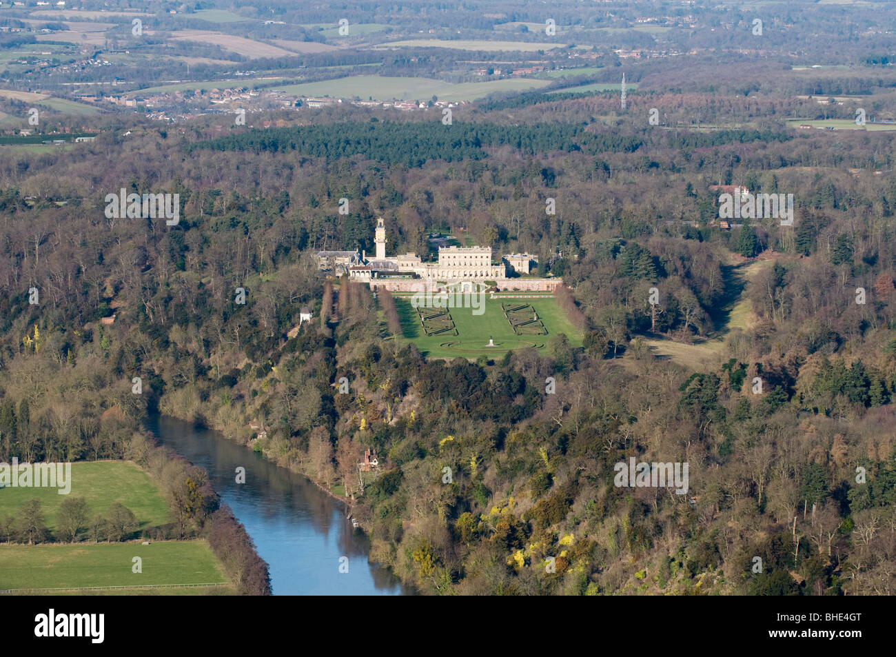 Cliveden House, Taplow, Berkshire.  Aerial view. - Stock Image