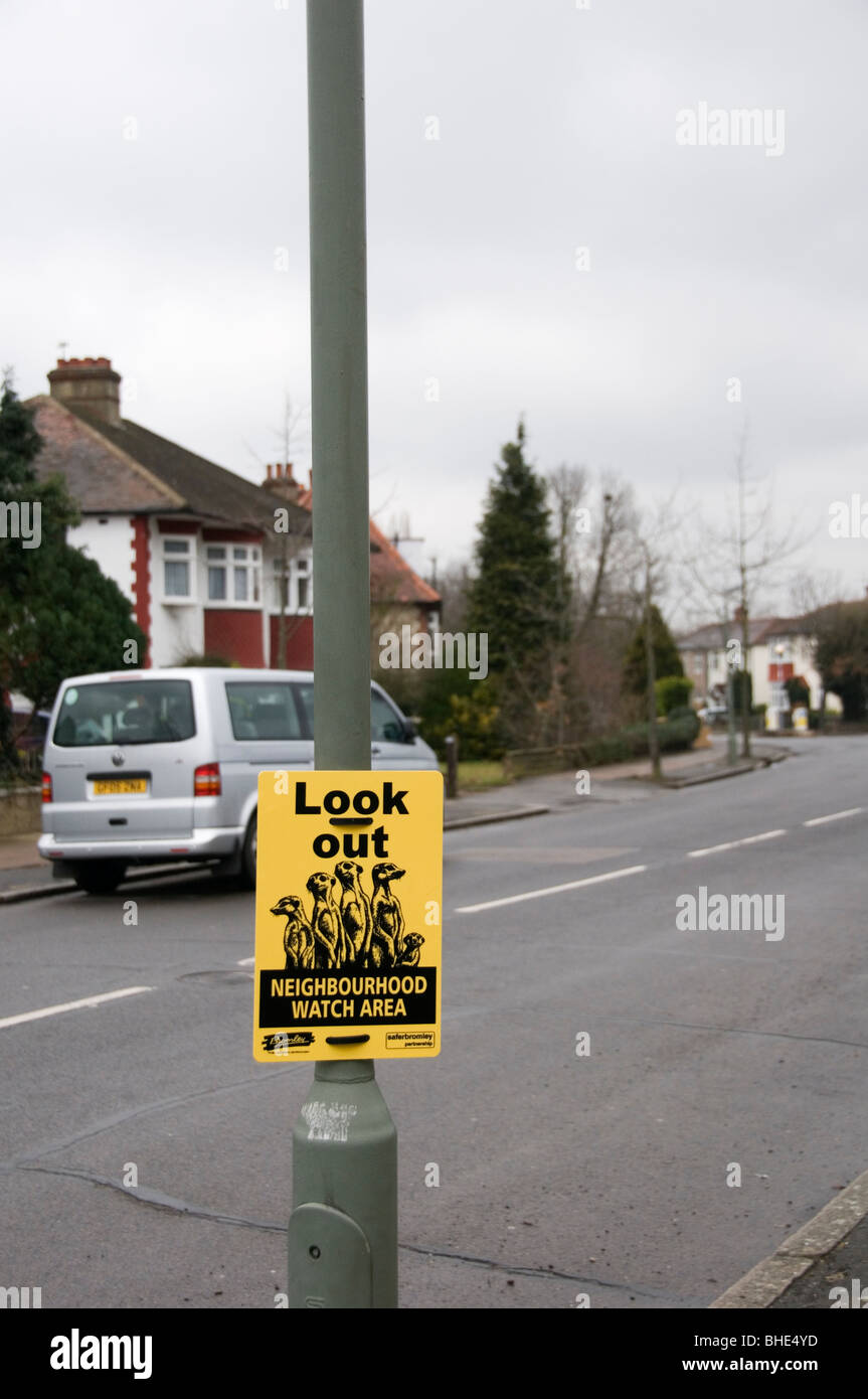 A Neighbourhood Watch sign in Bromley, South London - Stock Image
