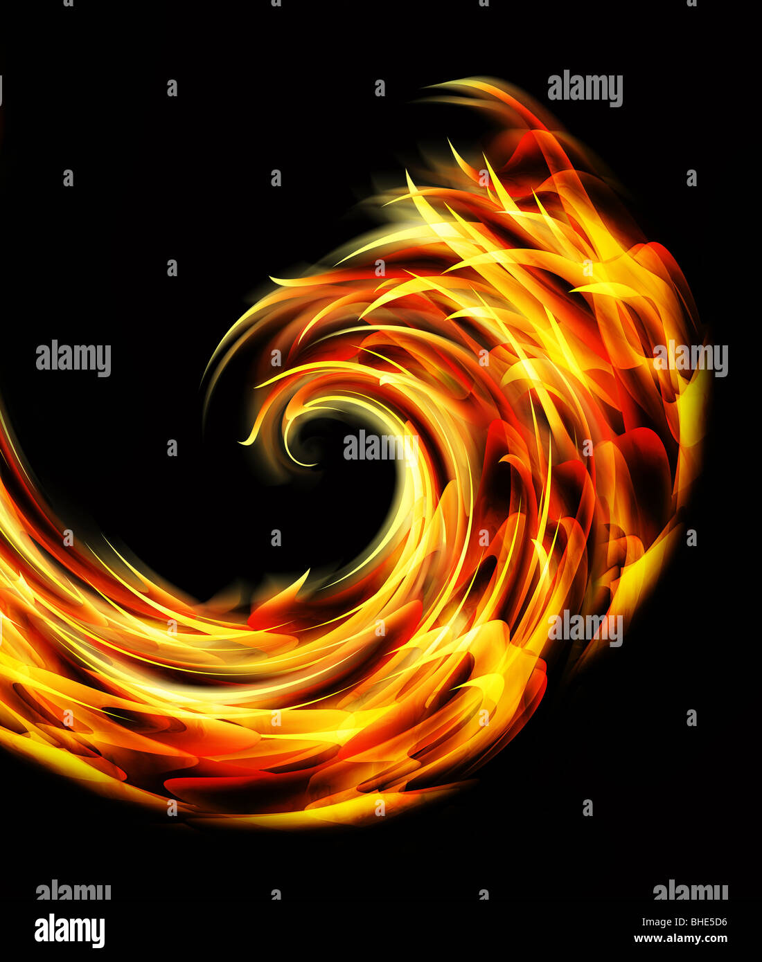 abstract graphic fire and flames illustration - Stock Image