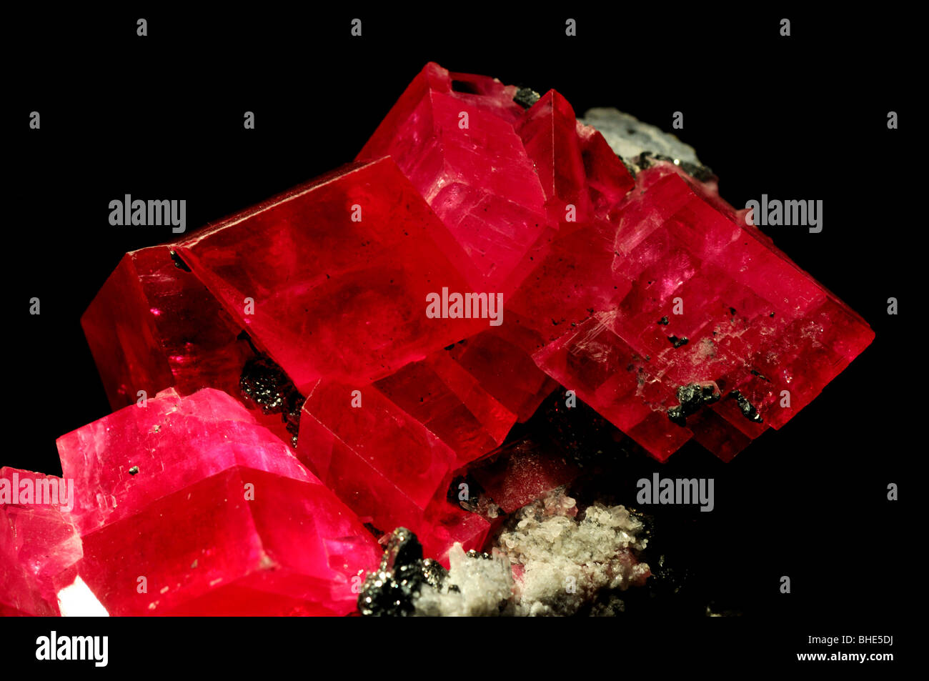 Rhodochrosite, manganese carbonate MnCO3. - Stock Image