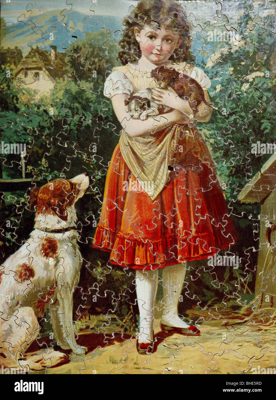 Game Jigsaw Puzzle Girl With Puppies Colour Lithograph Germany