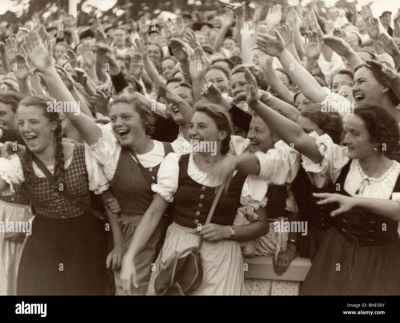 Nazism / National Socialism, Nazism, parades / rallies, cheering women, 1930s, Additional-Rights-Clearances-NA - Stock Image