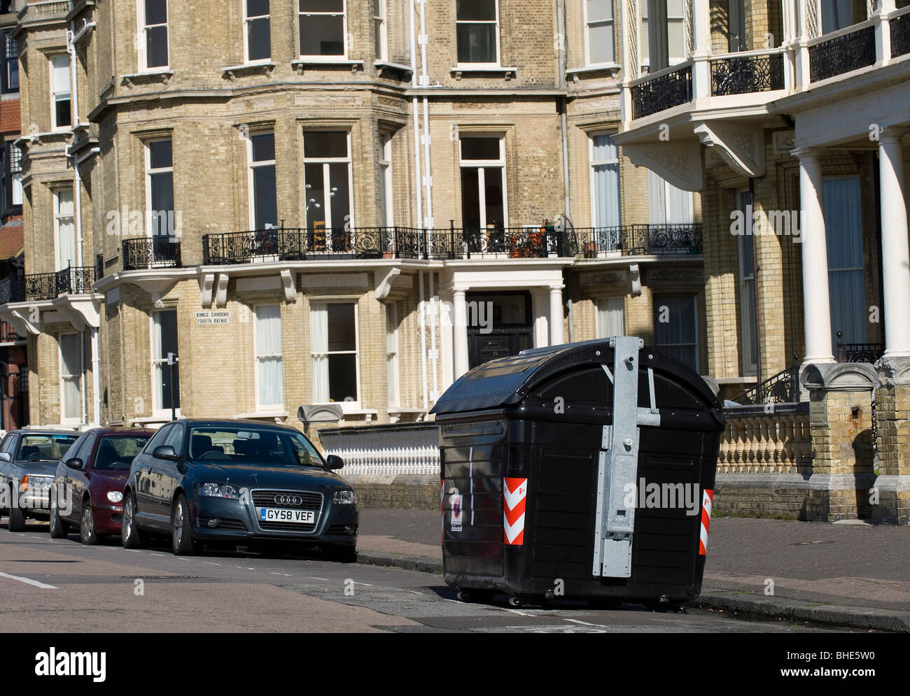 Communal rubbish skips on Kings Gardens and Fourth Avenue, Hove, West Sussex, 25th April 2009. - Stock Image