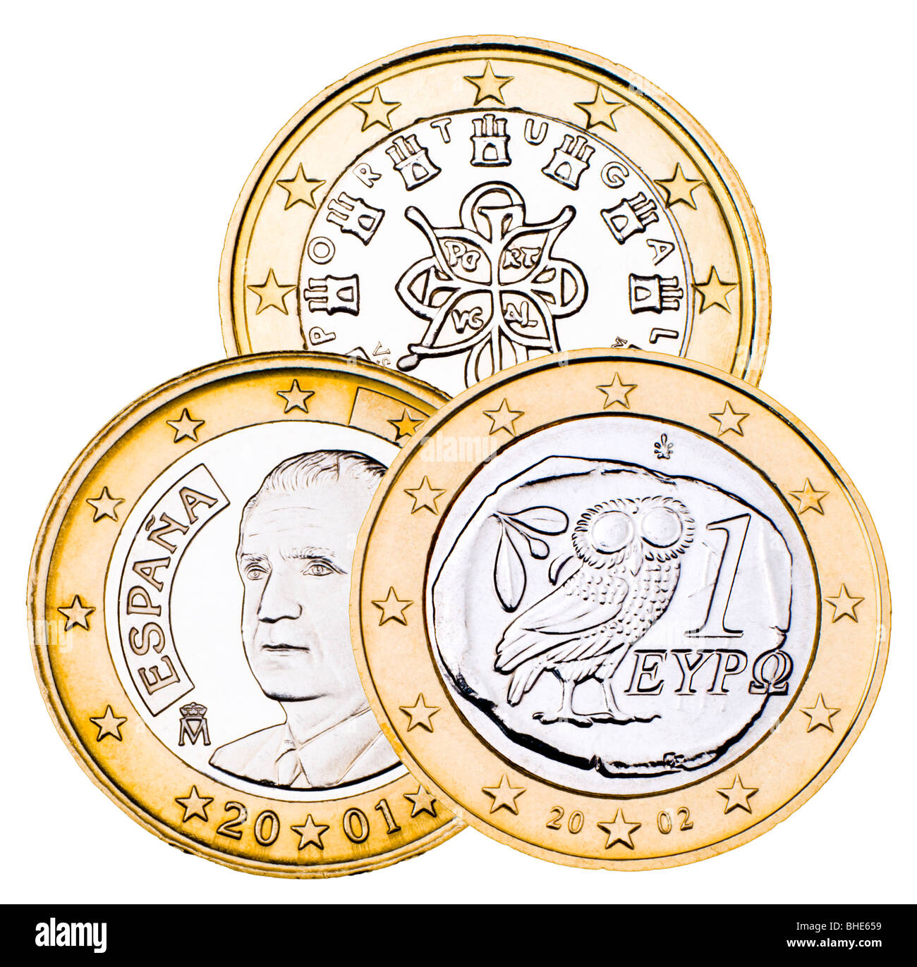 Greek, Portuguese and Spanish 1 Euro coins. - Stock Image