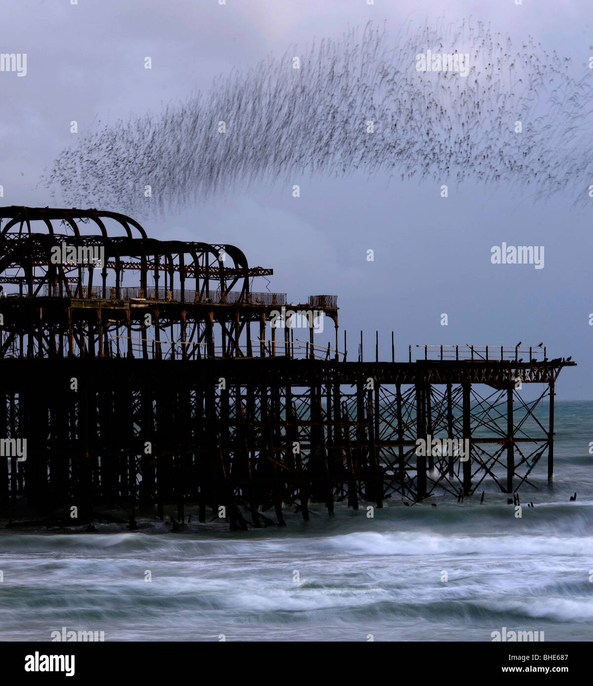 A murmuration of starlings wheel over the old West Peir on Brighton seafront, Brighton West Sussex, 3rd November - Stock Image