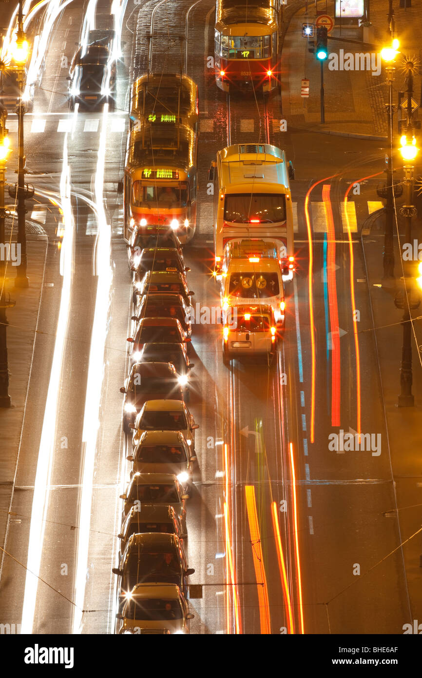 prague - high angle view of traffic on cechuv bridge at dusk Stock Photo