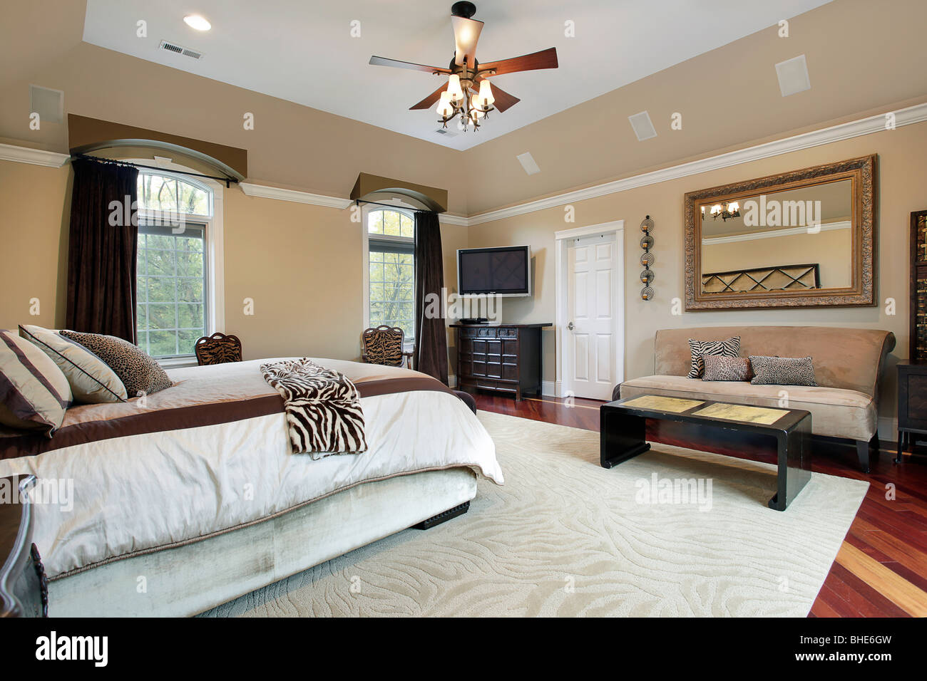 Master bedroom in luxury home with tray ceiling Stock Photo ...
