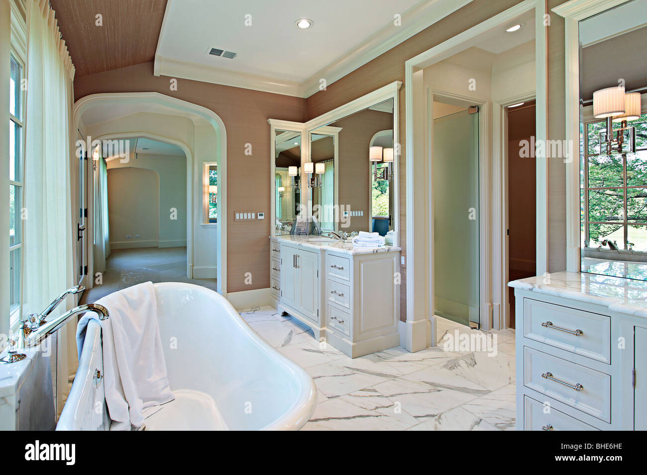 Master bath in new construction home with standalone tub Stock Photo ...