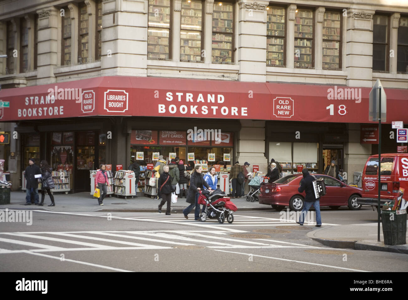 Strand Bookstore, New York's most famous at the corner of 12th St. & Broadway in Manhattan. - Stock Image