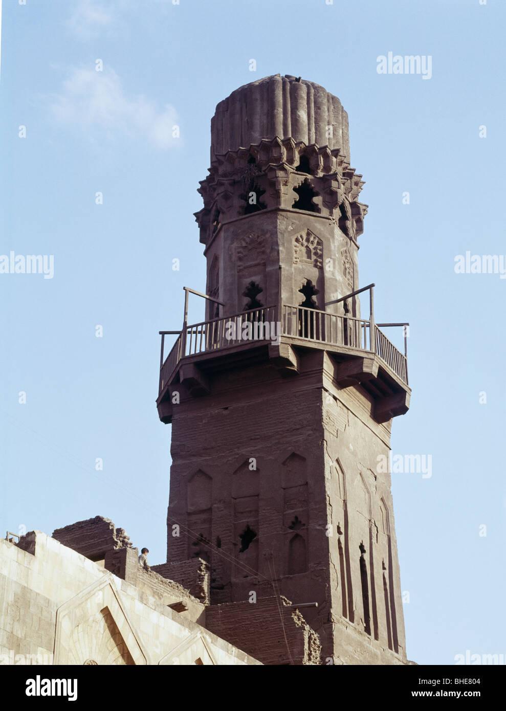 The Madrasa of Sultan El-Salih Nadjn Al-Din Ayyub, Cairo, the minaret. 1243 AD - Stock Image