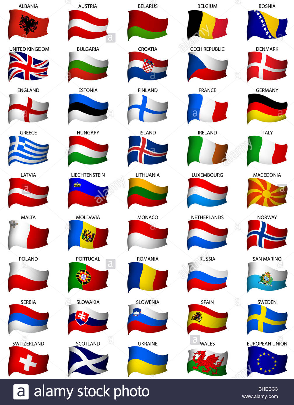 wavy eurpean flags set - Stock Image