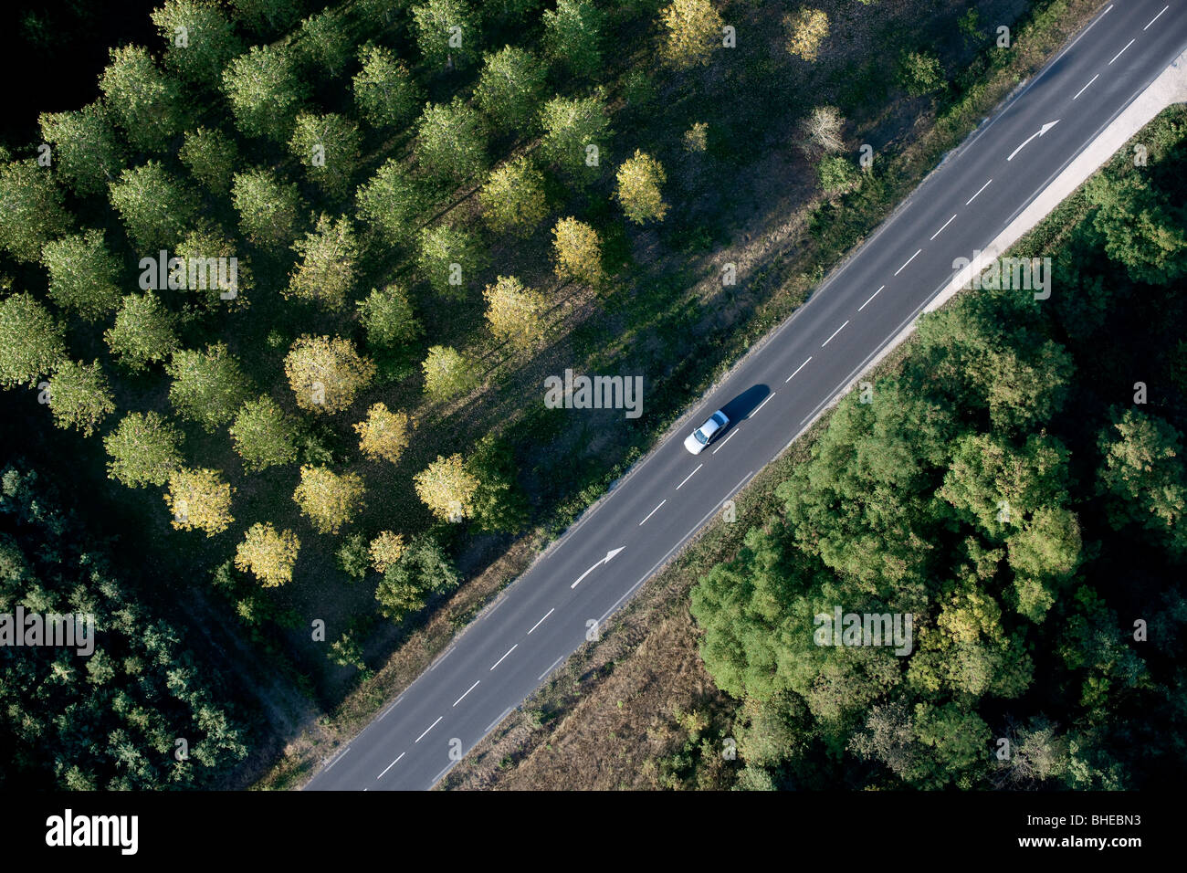High angle view of car on road in France - Stock Image